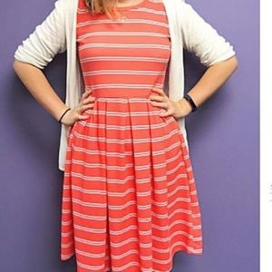 Peach and Gray/White stripped LulaRoe Amelia